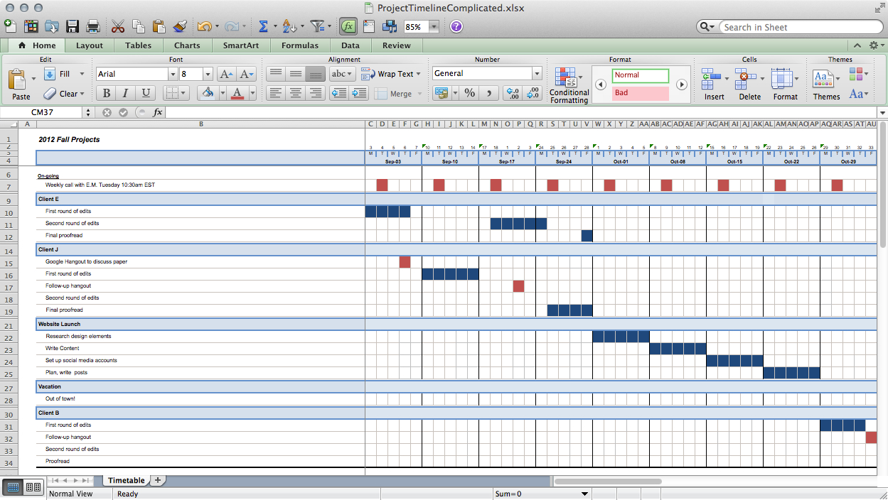 Track projects in Excel like a ninja Paper Raven Books – Project Timelines